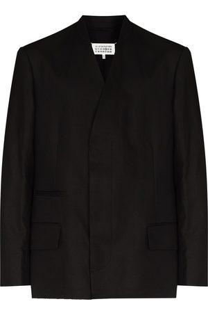 Maison Margiela Collarless single-breasted linen blazer