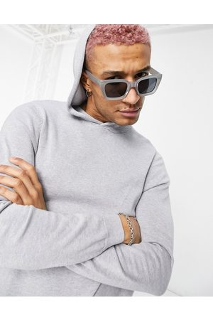 ASOS Knitted co-ord cotton hoodie in grey-Navy