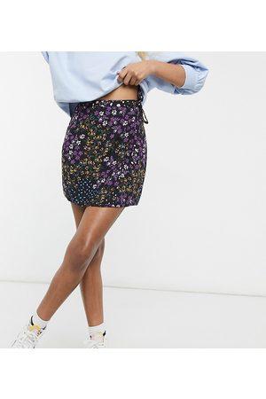 ASOS Women Printed Skirts - ASOS DESIGN Petite wrap mini skirt with tie side detail in floral print-Multi