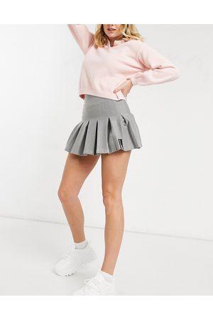 Bershka Half pleat tennis skirt in grey