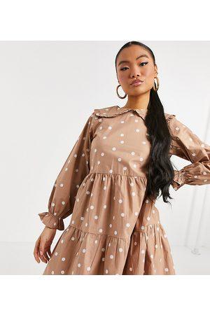 New Look Poplin frill collar dress in brown polka dot