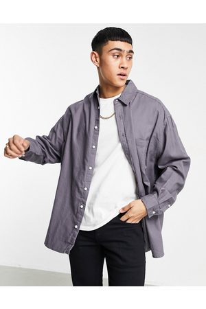 ASOS Extreme oversized flannel shirt in charcoal-Grey