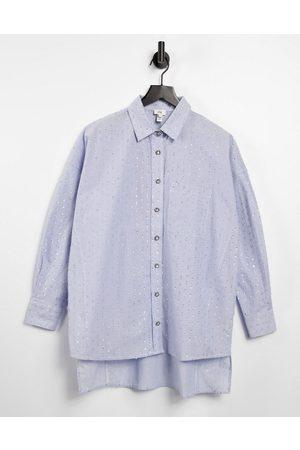 River Island Metallic thread oversized shirt in blue