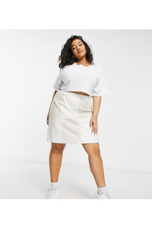 Glamorous Curve Patchwork skirt in cream faux leather