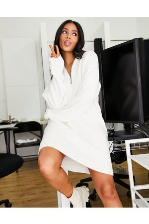 NA-KD X Jasmin Azizam knitted mini dress with zip front in off white