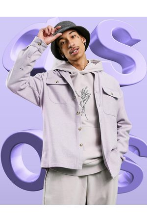 ASOS DESIGN 90s oversized wool mix shirt in lilac-Purple