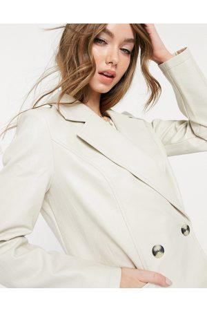 Vero Moda Croc leather-look blazer in cream