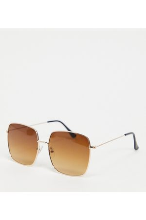South Beach Square sunglasses with gold frames and brown lens