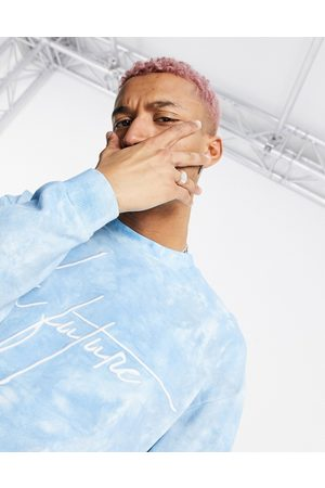 ASOS Dark Future Co-ord oversized sweatshirt with chest logo in washed blue