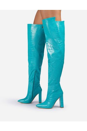 EGO X Molly-Mae Visionary slouch over the knee boots in blue croc