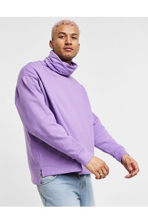 ASOS DESIGN Oversized sweatshirt with funnel neck and side splits in lilac-Purple