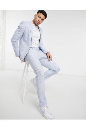 ASOS DESIGN Wedding skinny suit pants in pastel blue crosshatch