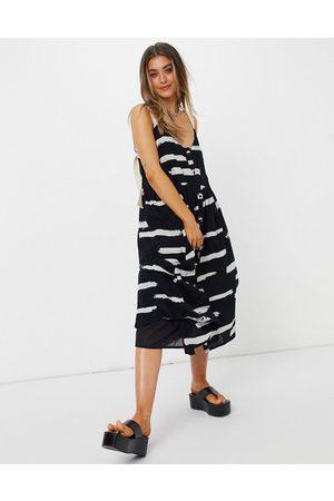 ASOS DESIGN Button through midi sundress in abstract print with grosgrain straps-Multi