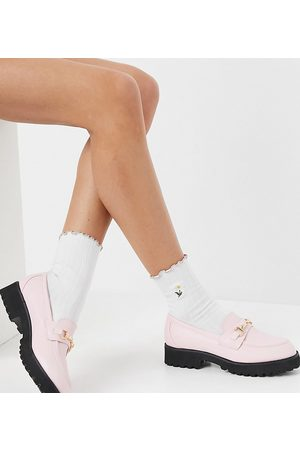 Raid Wide Fit Empire chunky loafers with gold snaffle in pastel pink