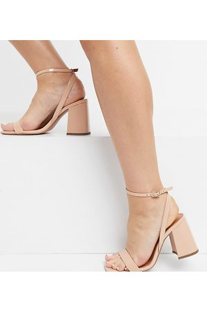 ASOS DESIGN Wide Fit Hudson barely there block heeled sandals in beige