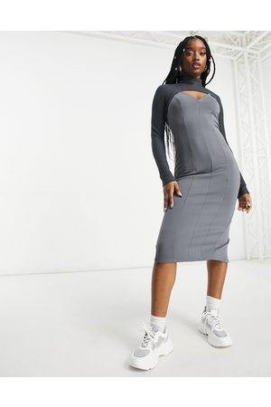 ASOS DESIGN Rib crop overlay midi pencil dress in grey