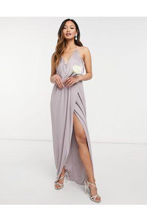 TFNC Women Maxi Dresses - Bridesmaid satin halterneck top maxi dress in