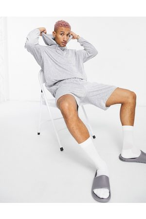 ASOS DESIGN Oversized towelling shorts tracksuit with hoodie in grey marle