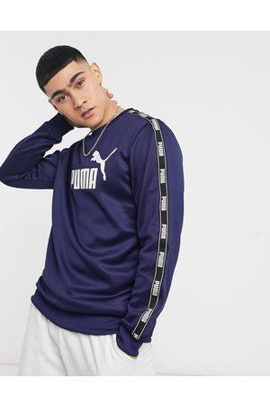 Puma Tape poly crewneck sweatshirt in navy