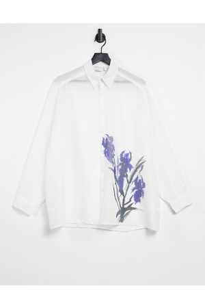 ASOS DESIGN Super oversized shirt in white sheer with placement floral