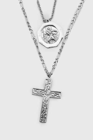 Boohoo Mens Double Layer Chain Necklace