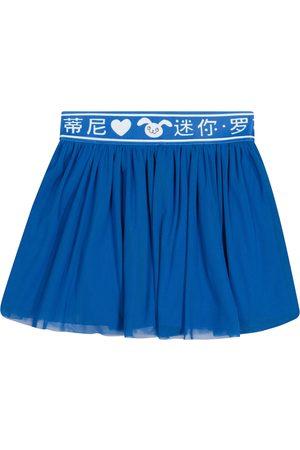 Mini Rodini Girls Skirts - Rabbit cotton tulle and jersey skirt
