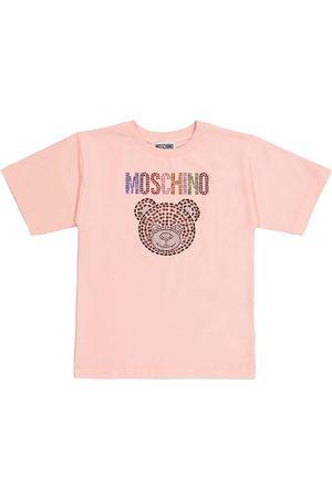 Moschino Short Sleeve - Embellished stretch-cotton T-shirt