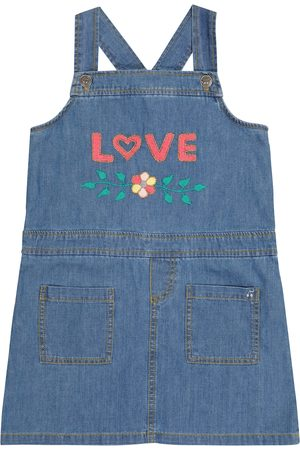 BONPOINT Embroidered denim overall dress