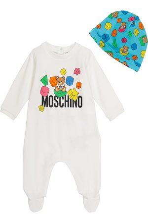 Moschino Baby stretch-cotton onesie and hat set