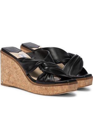 Jimmy Choo Narisa 90 leather wedge sandals