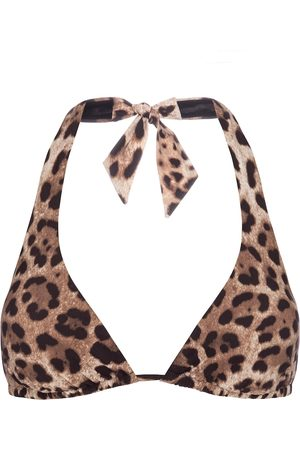 Dolce & Gabbana Leopard-print halterneck bikini top
