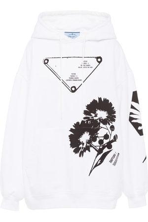 Prada Women Hoodies - Graphic-print drawstring hoodie