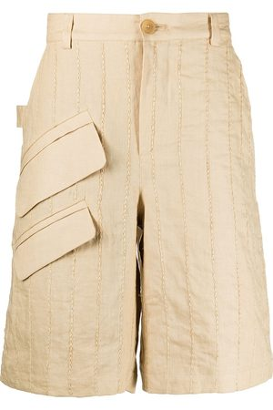 Jacquemus Men Bermudas - Vertical-stripe Bermuda shorts