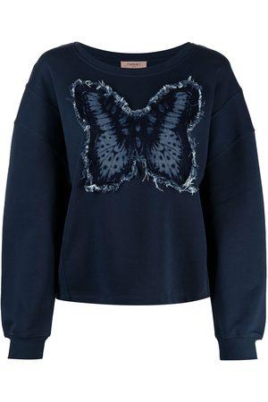 Twin-Set Women Sweatshirts - Butterfly appliqué cotton sweatshirt