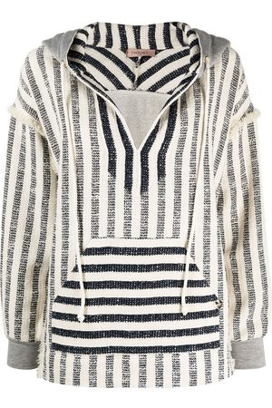 Twin-Set Striped oversized-fit knitted hoodie