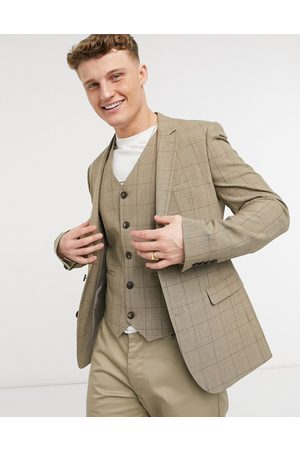 adidas Summer wedding range super skinny suit jacket in brown check
