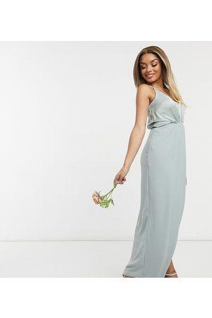 adidas Bridesmaid satin halterneck maxi dress in sage-Green