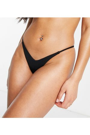 adidas Exclusive rib high leg micro bikini bottoms in charcoal-Black