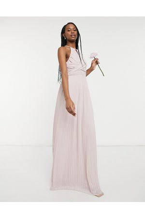 adidas Bridesmaid pleated wrap detail maxi dress in mink-Pink