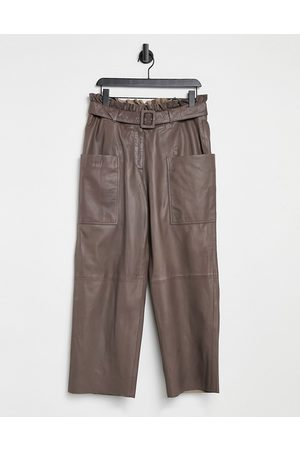 adidas Femme paperbag leather pants in brown