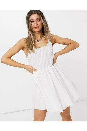 adidas Shirred mini skater sundress with scoop back in white