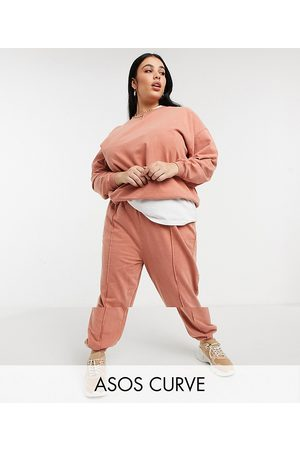 adidas ASOS DESIGN Curve tracksuit oversized sweatshirt / oversized trackies with pintuck in acid wash in terracotta-Brown
