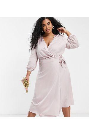 adidas Bridesmaid satin long sleeve wrap front midi dress in mink-Pink