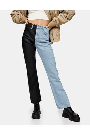 adidas Colour-block straight leg jeans in bleach-Blue