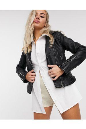 adidas Faux-leather biker jacket in black-Brown