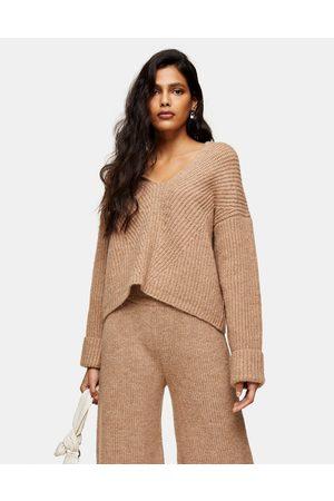 Topshop Lounge knitted hoodie in camel-Brown