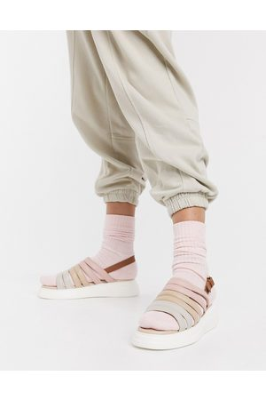 adidas Silvia suede slingback chunky sandals in beige multi