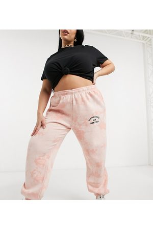 adidas Trackies in tie-dye with kitten graphics co-ord-Orange