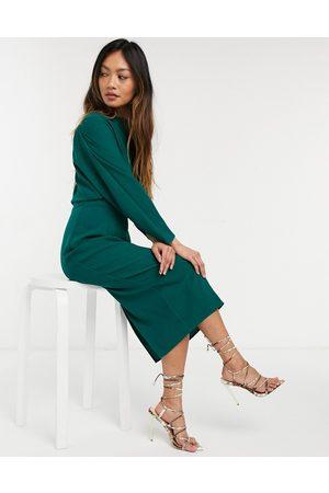 adidas Fallen shoulder midi pencil dress in forest green