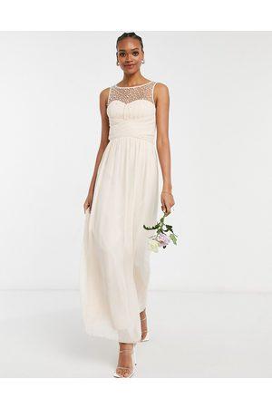 adidas Bridesmaid chiffon maxi dress with pearl embellishment in blush pink